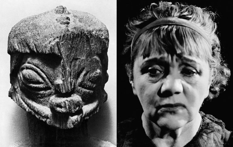 Double page from My 100 Best Photos, Dogon Head on the left, Laurette Taylor's Head (1945) on the right.