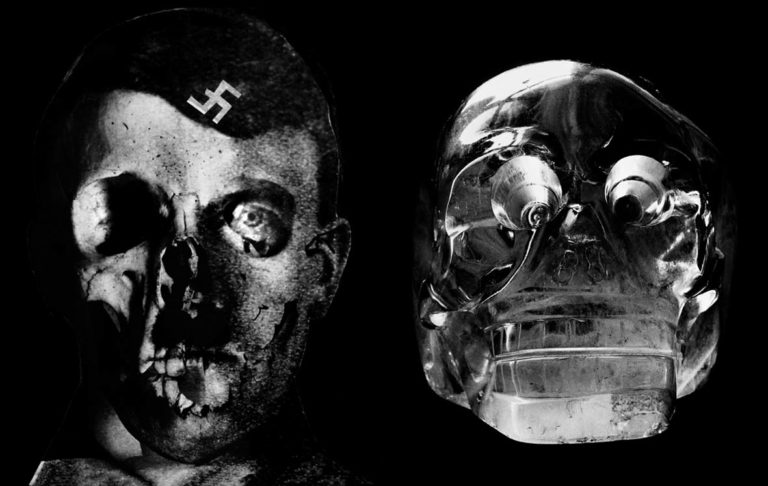 Double page from My 100 Best Photos, Hitler's Mug (1933) on the left, Crystal skull (1936) on the right